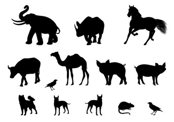 silhouette animal shape vector design