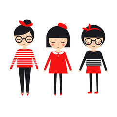 Cute fashion girls set on white background. Trendy design for textile, card, poster, print, decor.