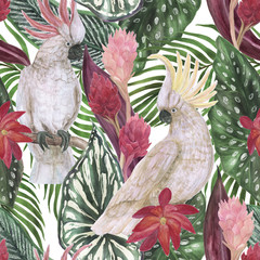 Watercolor painting seamless pattern with tropical leaves, flowers and cockatoo parrots