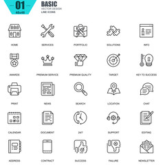 Thin line basic icons set for website and mobile site and apps. Contains such Icons as Portfolio, Services, Target, Awards, Support. 48x48 Pixel Perfect. Editable Stroke. Vector illustration.