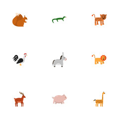 Flat Icons Camelopard, Wildcat, Swine And Other Vector Elements. Set Of Animal Flat Icons Symbols Also Includes Chipmunk, Mammal, Rooster Objects.