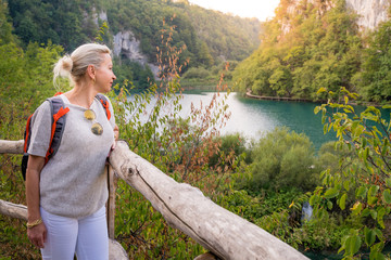 Tourist in Plitvice Lakes National Park