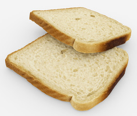 bread slices - toast pair - isolated on white
