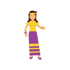Flat cartoon woman hippie. Happy and carefree female with long brown hair, dressed in long purple skirt and yellow t-shirt.