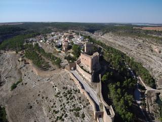 Alarcon, villa historica en Cuenca, Castilla la Mancha, España. Fotografia aerea