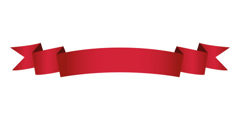 single red ribbon banner in white background