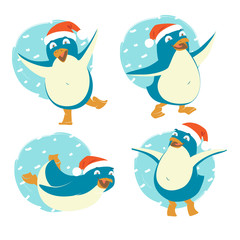 Set of funny penguins wearing red Santa Claus hats. Merry Christmas and Happy New Year greeting card, poster, flyer, banner design elements. Flat style vector illustration