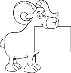 Black and white illustration of a ram holding a sign.