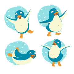 Set of funny penguins. Merry Christmas and Happy New Year greeting card, poster, flyer, banner design elements. Flat style vector illustration