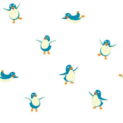 Seamless pattern background of funny penguins. Merry Christmas and Happy New Year greeting card, poster, flyer, banner design elements. Flat style vector illustration