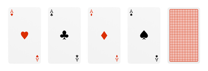 3d rendering of five playing cards, where four of them are different aces, and one card turned over.