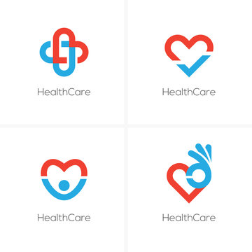 Four health care logo with heart shape