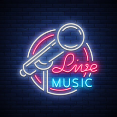 Live musical vector neon logo, sign, emblem, symbol poster with microphone. Bright banner poster, neon bright sign, nightlife club advertising, karaoke, bar and other institutions with music