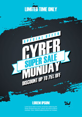 Cyber Monday Sale special offer poster with brush stroke background for commerce, business, promotion and advertising. Vector illustration.