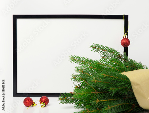 Christmas composition. Black frame and branches christmas tree, red ...