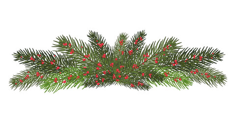 Garland of branches of a Christmas tree and red berries. Isolated. nature decoration.