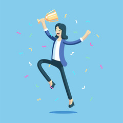 Businesswoman celebrating and jumping with a trophy in her hands. Happy girl celebrating a victory holding the cup and laughs. Business concept achievement vector illustration