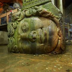 Gorgon Medusa head in underground Basilica Cistern the largest ancient water reservoirs, Istanbul, Turkey
