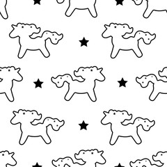Unicorn pattern seamless vector background isolated on white.Vector pattern with cute unicorn.Magic wallpaper with little unicorns.Baby background. Black hand drawn mane
