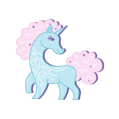 Blue vector standing unicorn with pink mane and horn.Baby style unicorn isolated on white background.Magic silhouette unicorn. Unicorn animal baby badge.Design for child t-shirt