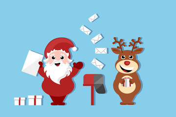santa claus and reindeer cartoon character standing by the mail box, christmas scene