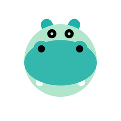 Hippopotamus. Cartoon Animal Head