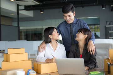 Young Business people success for business plan together, Young People Start up for Business Online, SME, Delivery Project, People Success with Online Business or SME Concept.