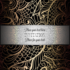 Baroque background with antique, luxury black and gold vintage frame, victorian banner, damask floral wallpaper ornaments, invitation card, baroque style booklet, fashion pattern, template for design