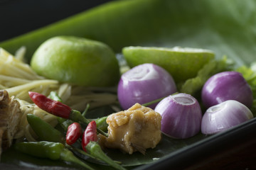 Herb ingredient of Tom Yum spicy soup Traditional Thai food cuisine.