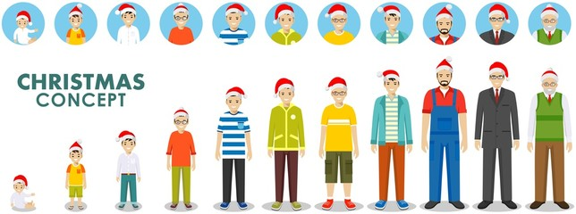 Christmas and New Year family concept. People generations at different ages in the Santa Claus hat. Man aging: baby, child, teenager, young, adult, old people. Different characters avatars icons set.