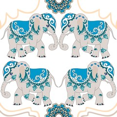 Funny indian elephants and mandala isolated on white background. Seamless vector pattern in blue tones.