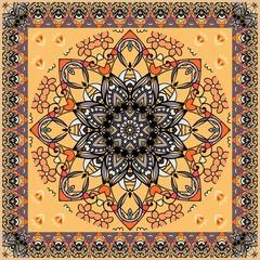 Ornamental shawl with flower mandala and ornate zigzag border. Russian, indian, persian motives. Vector autumn design. Greeting card, pillowcase, square rug.