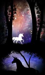Set me free - unicorn dream silhouette art