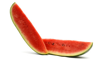 Single slice of ripe watermelon on white background