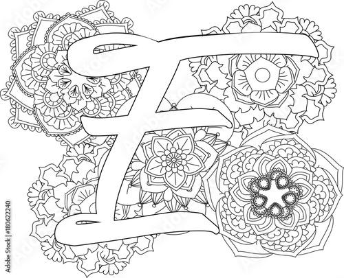 Mandala E Monogramlogo Doodle Floral Letters Coloring Book For Adult
