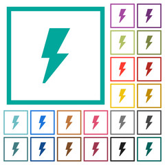 Flash flat color icons with quadrant frames