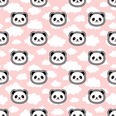 Cute Cartoon Panda Seamless Pattern Background, Vector Illustration