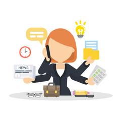 Businesswoman multitasking at work.