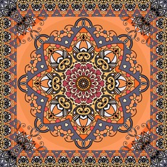 Retro pattern with beautiful flower mandala and zigzag ornamental frame on bright orange background. Seamless print for fabric. Vector illustration.