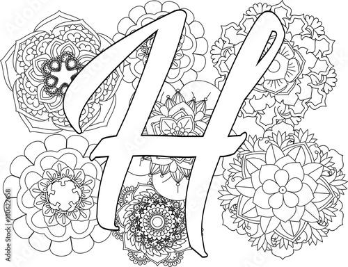 Mandala H Monogramlogo Doodle Floral Letters Coloring Book For Adult