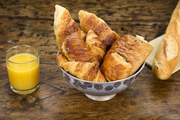 Selection of croissants on a breakfast table