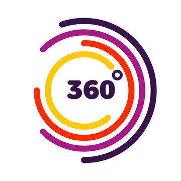 360 degrees view Related Vector graphic element that can be used as a logo or icon for your Design. Modern style with colorful circle lines