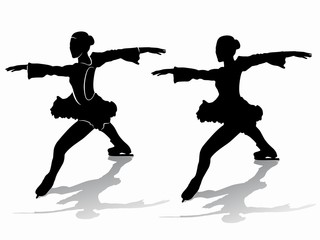 silhouette of a figure skater , vector draw