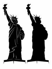 silhouette of the Statue of Liberty , vector draw