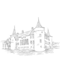 Graphic illustration of a castle. Picture of an old West European castle. Graphical black and white illustration