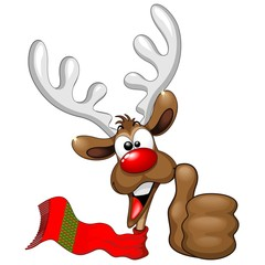 Reindeer Cool and Happy Thumb Up Cartoon Character