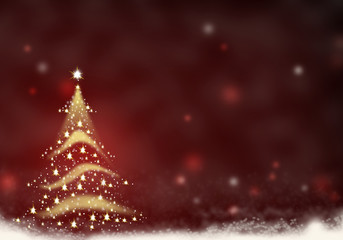 Christmas tree gold formed from stars background red christmas background illustration