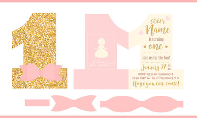 First birthday girl party. Printable invitation card for little princess. Gold glitter and pink. Shaped invite - number one. Template have place for real child's photo. Decorated realistic paper bow.
