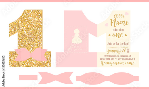 First birthday girl party printable invitation card for little printable invitation card for little princess gold glitter and pink stopboris Images