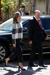 Spain's Queen Letizia Ortiz arrives during a work visit to the Red Cross building in Mexico City